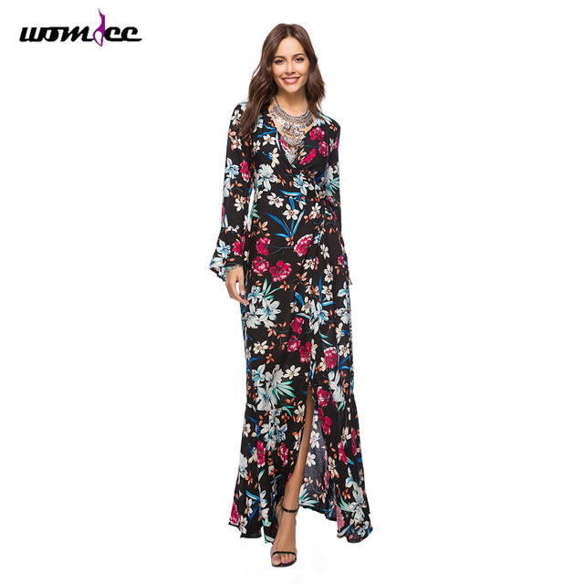 Boho Style Women Flare Sleeve Summer Dresses for women 2018 Floral Print Long Sleeve Vintage Elegant Maxi Dress Plus Size