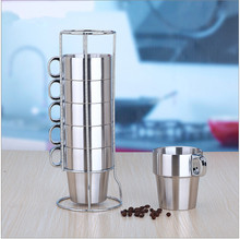 Double stainless steel cup with a handle anti-scald Coffee beer tea cup Mug Set caneca Drain storage rack 7 sets caneca