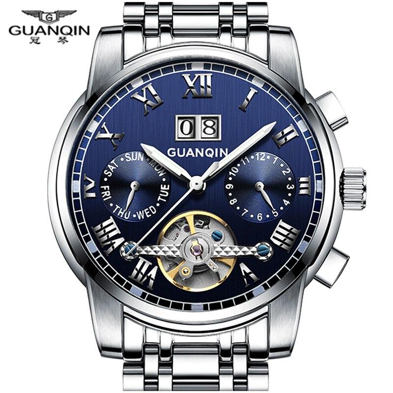GUANQIN marque montres hommes Tourbillon montres mécaniques hommes acier étanche lumineux automatique montre-bracelet hommes montre homme