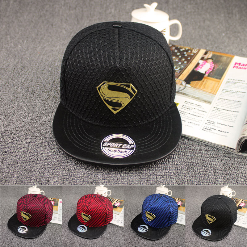 2016 New Fashion Summer Brand Superman Baseball Cap Hat For Men WomenTeens Casual Bone Hip Hop Snapback Caps Sun Hats new 2017 fashion unisex cap bones baseball cap snapbacks hat simple hip hop cap casual sports female hats wholesale