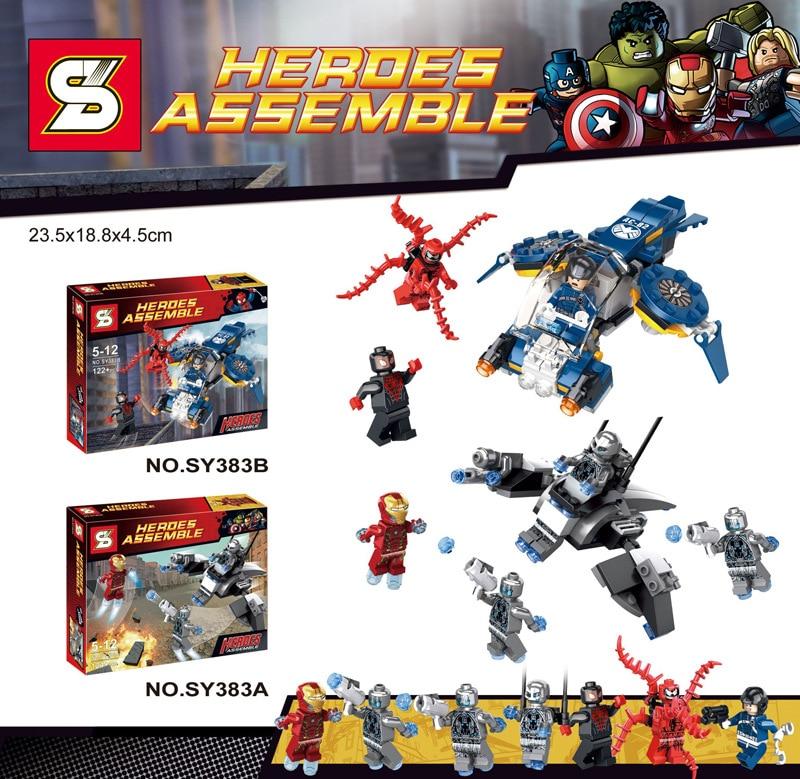 Lepin Pogo Bela SY383uper Iron Man Super Heroes Marvel Avengers Building Blocks Bricks Compatible Legoe Toys