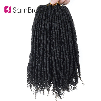 SAMBRAID 14 Inch 24 Strands/pack Flully Crochet Braids Hair Spring Twist Synthetic Braiding Extension For Women