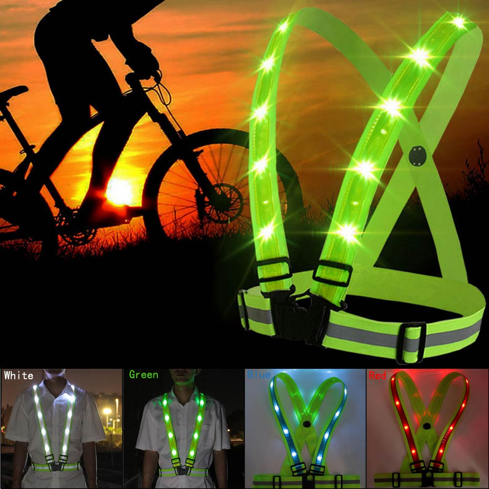 Novelty Running Cycling LED Reflective Belt Vest USB Rechargeable Adjustable Belt Safety Work Light Night Outdoor Activity
