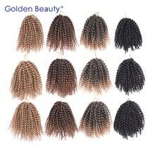 Belleza de oro 3 unids/pack 8 pulgadas extensiones de cabello Rizado Rizado de color ombre sintético trenzas torcedura crochet