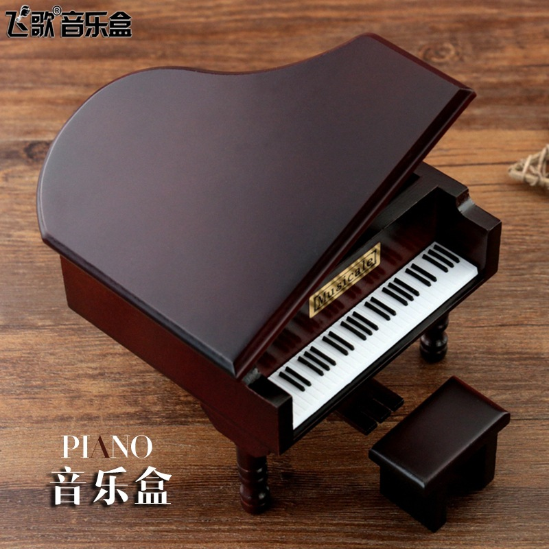 Decor Music Boxes Mini Constellation Hand cranked Wooden Simulated Piano Golden Movement Music Box Creative Gift