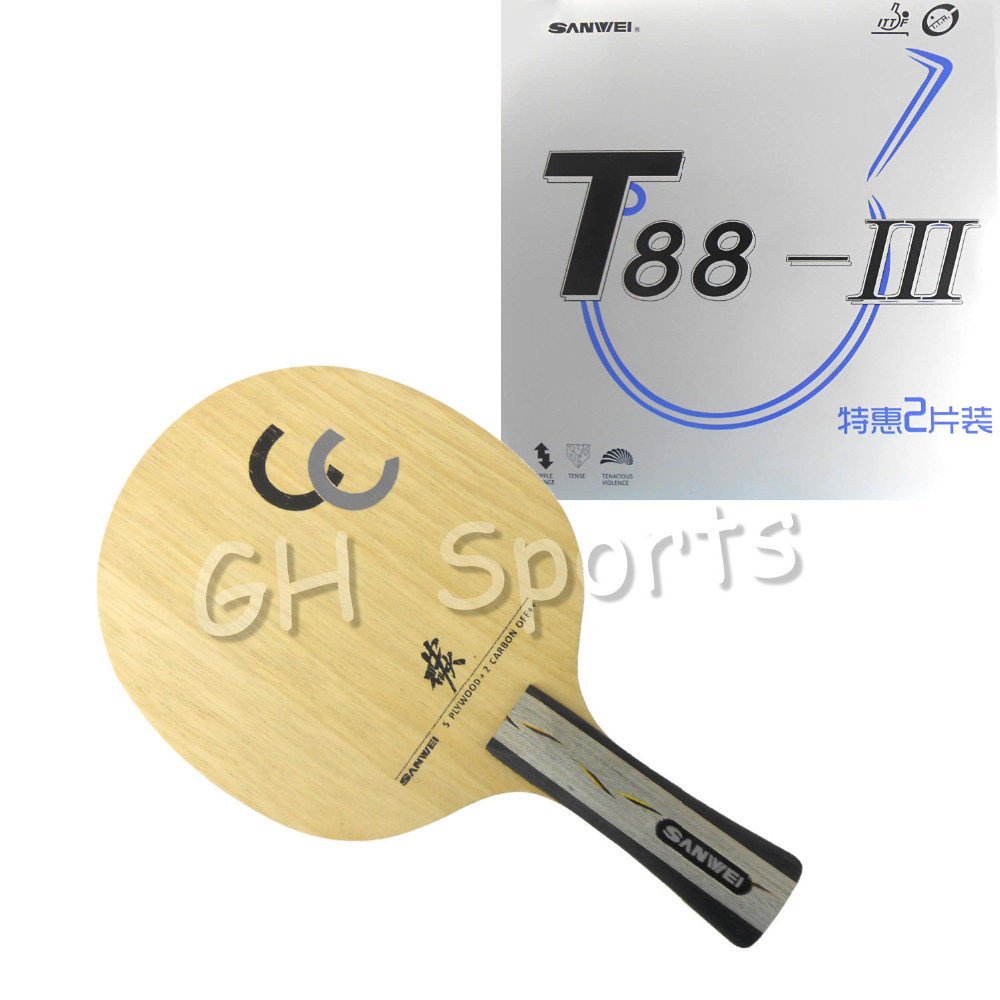 Pro Combo Racket Sanwei CC Blade With 2x Sanwei T88-3 Rubber With Sponge