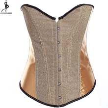 039775271aa Shining Corset Overbust Corsets No Trim Solid Korset Plastic Boned Outfit  Women Bustier Busk Waist Slimming Gold Red Black Korse