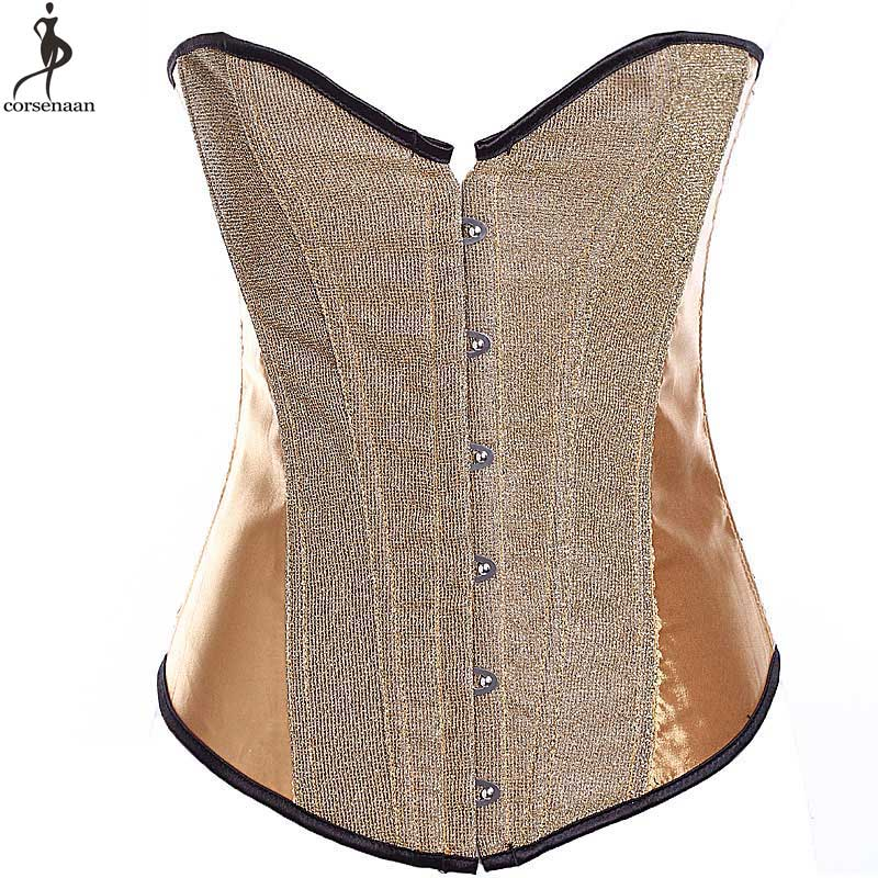 Shining   Corset   Overbust   Corsets   No Trim Solid Korset Plastic Boned Outfit Women   Bustier   Busk Waist Slimming Gold Red Black Korse