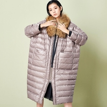 LYNETTE'S CHINOISERIE Winter Original Design Women Ultra Loose X-long Cocoon Style O-neck Oversized White Duck Down Coat Jackets