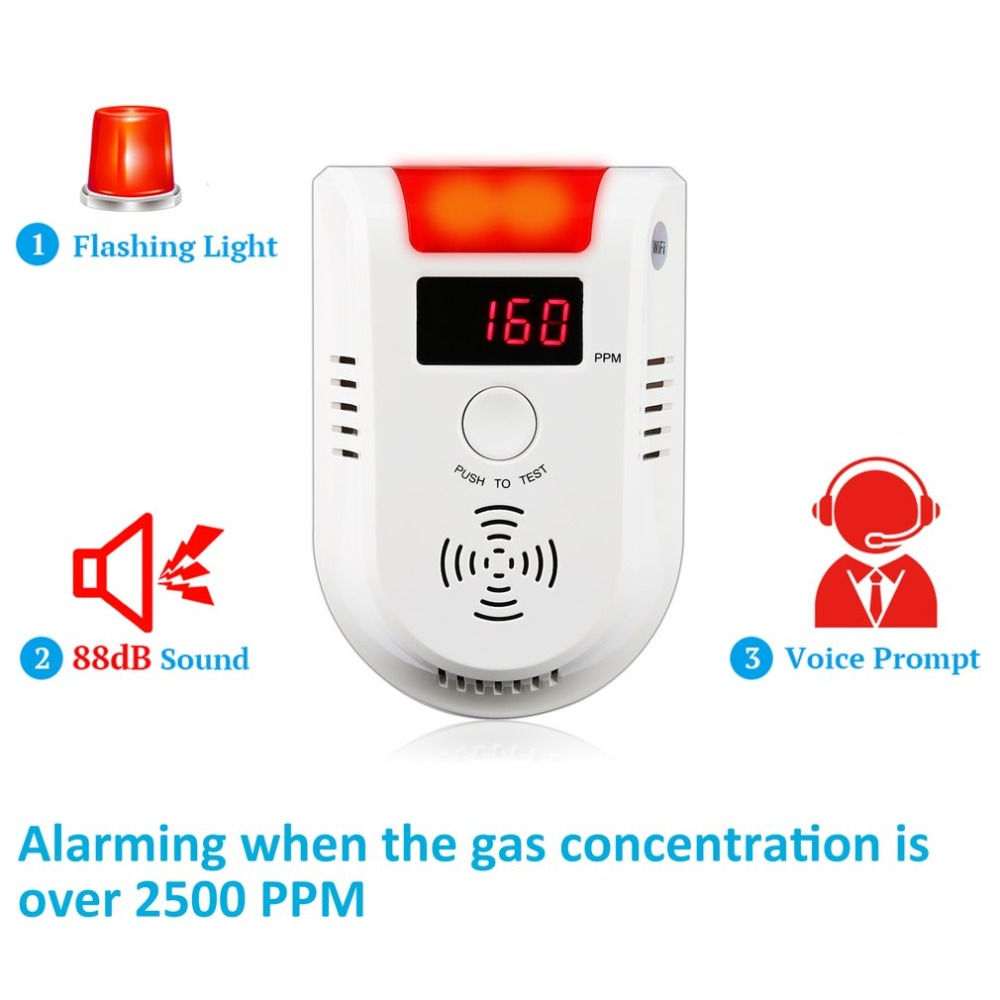 WIFI APP Voice Prompt Combustible Gas Leakage Detector Alarm System Display Screen Wireless Security Gas Sensor Alarm golden security lpg detector wireless digital led display combustible gas detector for home alarm system