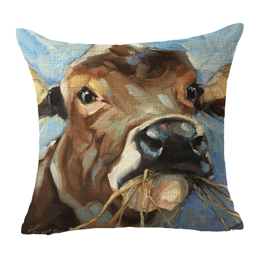 Oil Painting Animal Cushion Cover Cotton Linen Chow Chow Pet Dog Cat Brown Zebra Home Decorative Pillows Cover for Sofa