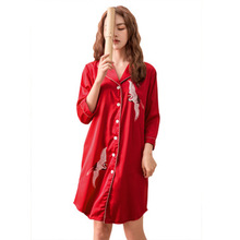Daeyard Fashion Silk Nightgown For Women Spring Summer Turn-down Collar Blouses Night Dress Print Sleepshirt Casual Home Clothes