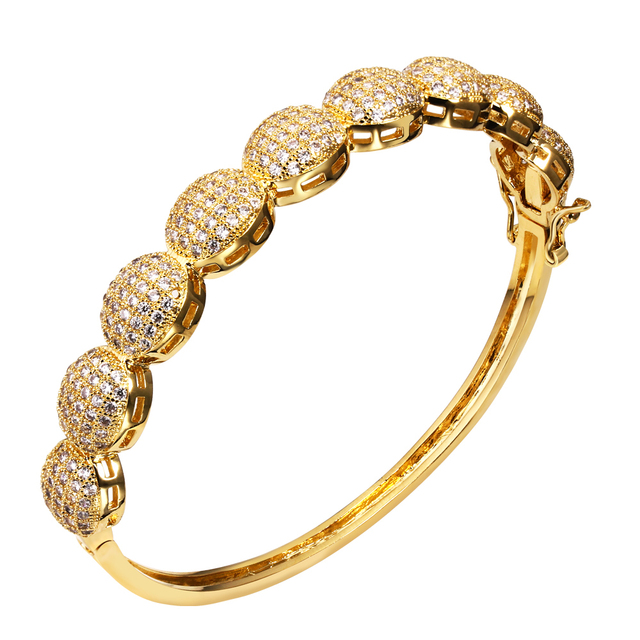 DC1989 New Design Fashion Statement Bracelet Micro Pave Setting Cubic Zircon Lead Free Women Party Bangles Rhodium Gold Plated