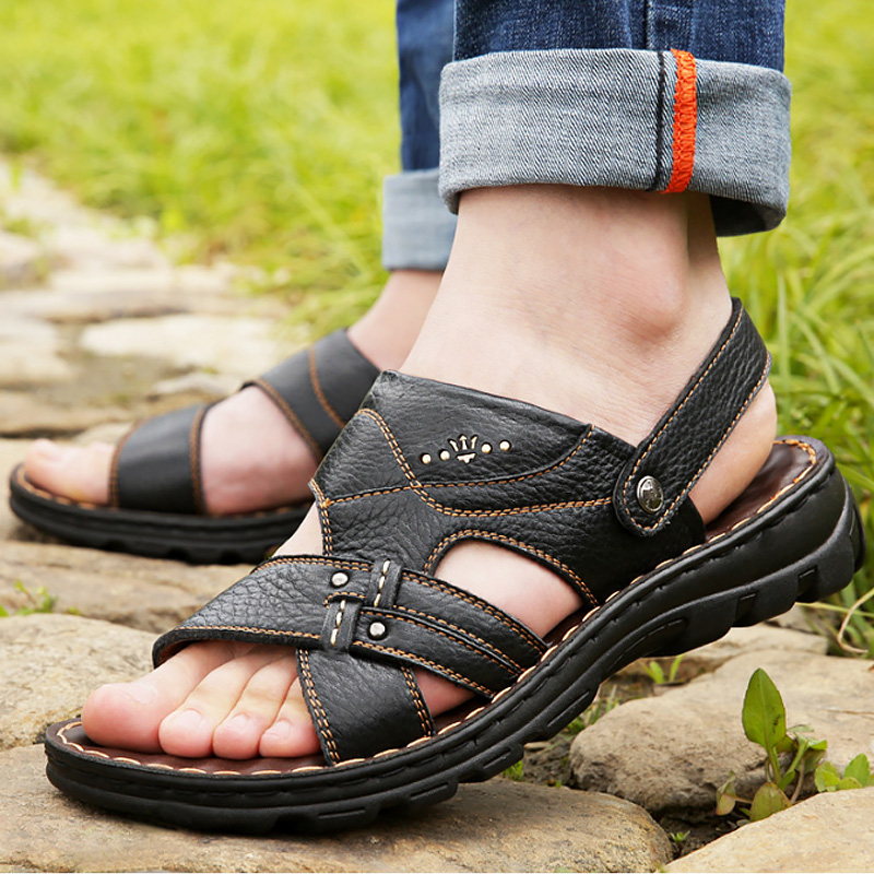 f05aa31997d41 BACKCAMEL 2018 summer sandals mens leather breathable soft bottom beach  slippers non-slip Baotou dual use outdoor casual shoes