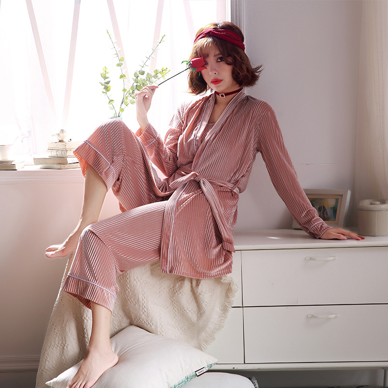 Winter Women   Pajamas     Set   Velvet 3 pieces Pyjama   Sets   Sleepwear Christmas Women Loungewear Pyjama Femme Night Wear Home Suit