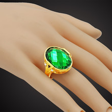 Gold Color Candy Green Big Austrian Crystal Ring Unisex Anel Gift New Trendy Antique Wedding Rings