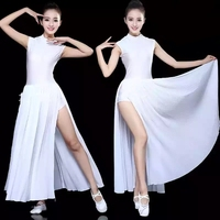 2018 New white sexy women modern costumes Chiffon ballroom dance dress Waltz tango dresses long evening party dress