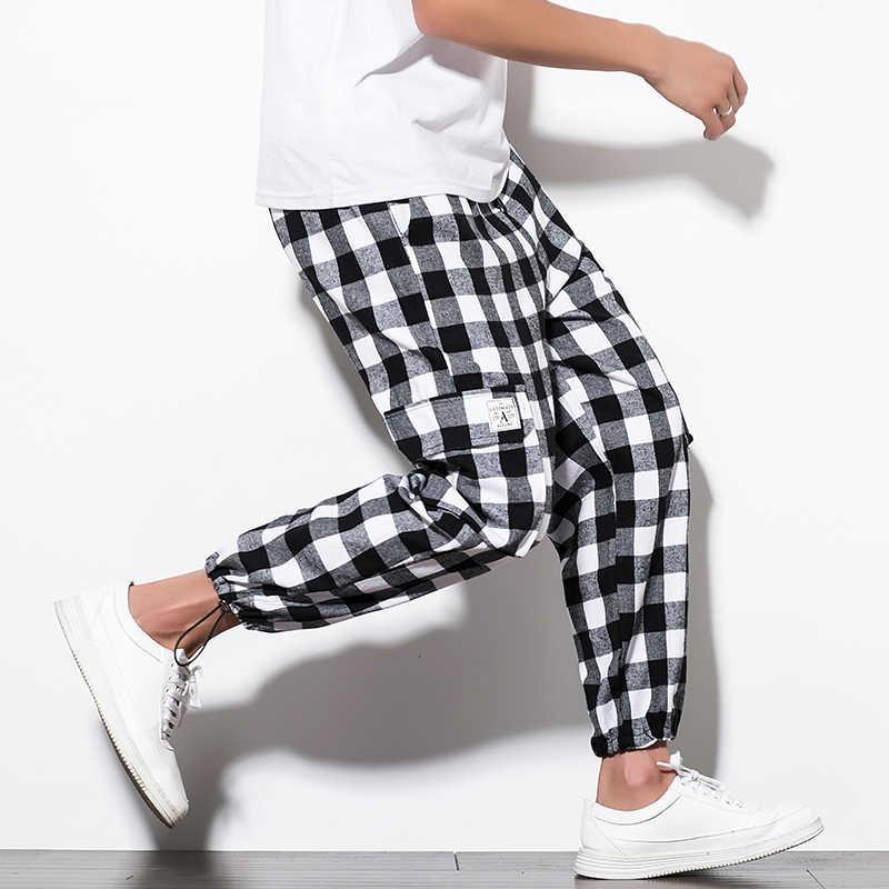 d6ad810be ... Harlan Pants Male 2018 New Summer Korean version Men's Plaid Trousers  Korean version Style 5XL Loose ...
