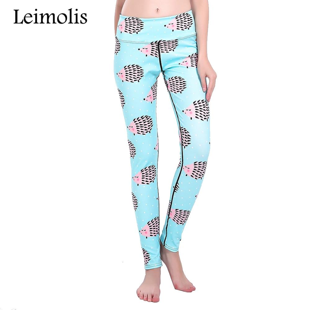 Leimolis 3D print lovely sky blue hedgehog winter Harajuku High Waist workout push up plus size fitness leggings women pants