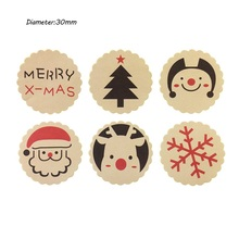 цена на 120PCS/Lot Merry Christmas Theme Sealing sticker DIY Gifts posted Baking Decoration package label Multifunction
