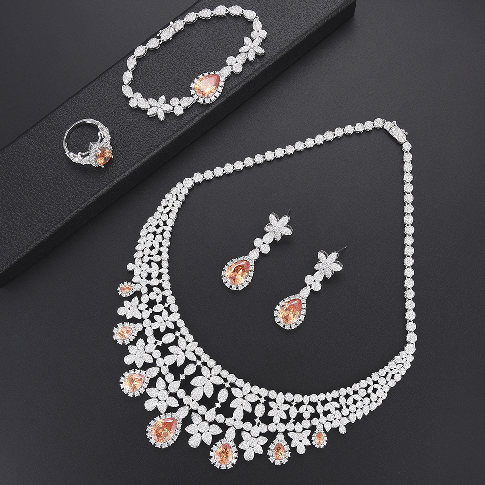 Fashion Blossom Waterdrop Necklace Earrings Bangle Ring Fashion Jewelry Set For Women African wedding Engagement jewelry все цены