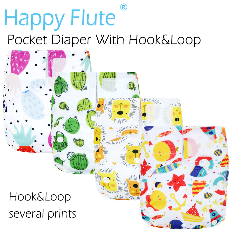 Happy Flute Hook&Loop OS Pocket Cloth Diaper,waterproof Breathable S M& L Adjustable,fit 5-15kg Baby