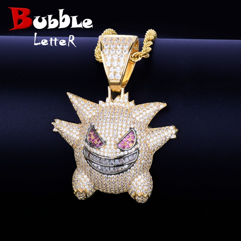Emoji-Pendant Necklace Jewelry Tennis-Chain Demon Iced Bling-Cubic-Zircon Hip-Hop Men's