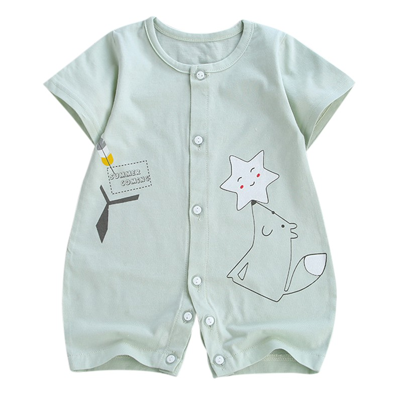 Summer Hot Sale Baby Boys Girls Casual Jumpsuit Infant Kids Cotton Print Short Sleeve Bodysuit Newborn Newly Clothing