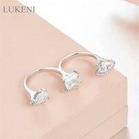 Europa i stany Zjednoczone LUKENI S925 Srebrny Wkładka Cyrkon bardzo Flash Trzy Odnosi Pierścienie, Pierścienie Dla Kobiet Mody biżuteria