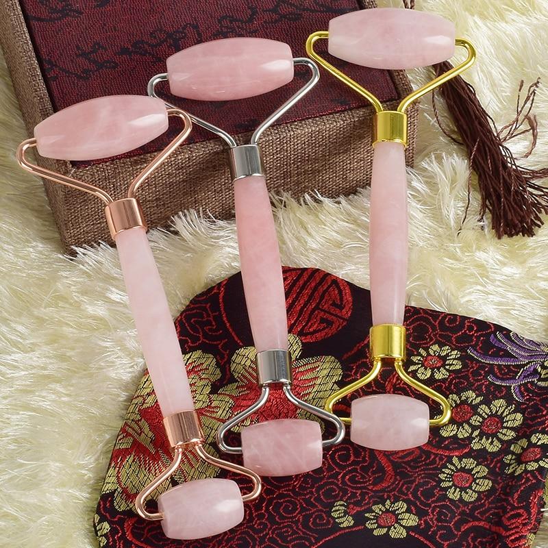 Natural Rose Quartz Facial Massage Roller With Noise Free Set Pink Quartz Skin Care Slimming Massage Tool