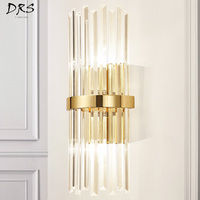 American Luxury Crystal Wall Lamp Modern Simple Living Room Bedroom Bedside Lamp Decor Home Wall Sconce Light Fixture Luminaria