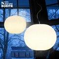 Белый стеклянный шар современные подвесные лампы простые LED молочный Овальный подвесной светильник стеклянный плоский круглый шнур подвес...