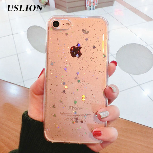 USLION Phone Cases For iPhone 7 Shinning Glitter Star Case Bling Love Heart Soft TPU Back Cover Capa Coque For iPhone7 6 6s Plus