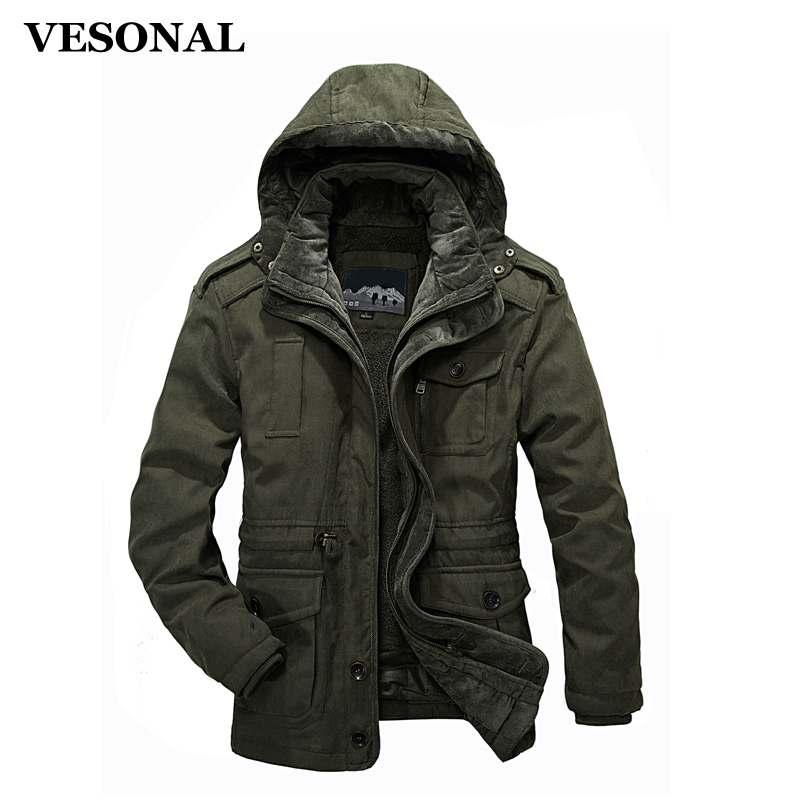 VESONAL New Autumn Winter Multiple Pockets Male Jackets Thickening Warm Parka Men Jacket Coat Hooded Casual Windbreaker Overcoat new arrival 2017 men autumn and winter warm windbreaker long sleeves solid color hooded sports quick drying softshell men 150