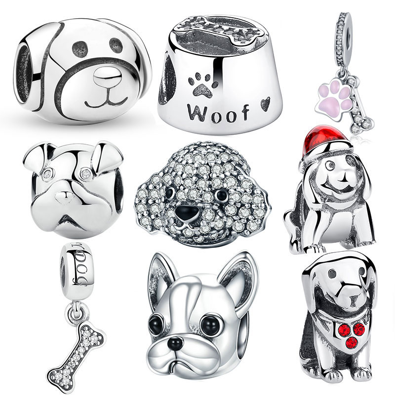 925 Sterling Silver A Dog s Story, Poodle Cute Puppy French Bulldog Beads Charm Fit BISAER Charms Silver 925 Original Bracelet