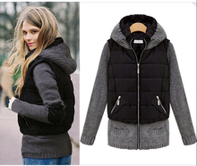 2016 European Latest Ladies Winter Cotton-padded jacket High quality Knitting Hooded Coat Women Super Warm Winter Coat G1648