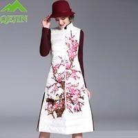 winter down vest QEJIN white duck down parkas Embroidery flower jacket thicken Down Waistcoat fashion femme single button