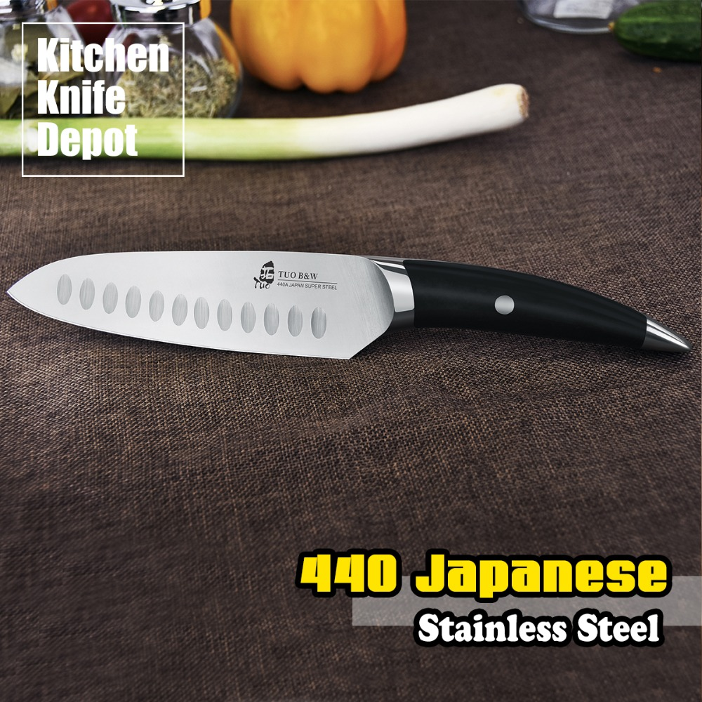 TUO Cutlery B W Series 6 Inch Santoku font b Knife b font Mirror Black 440
