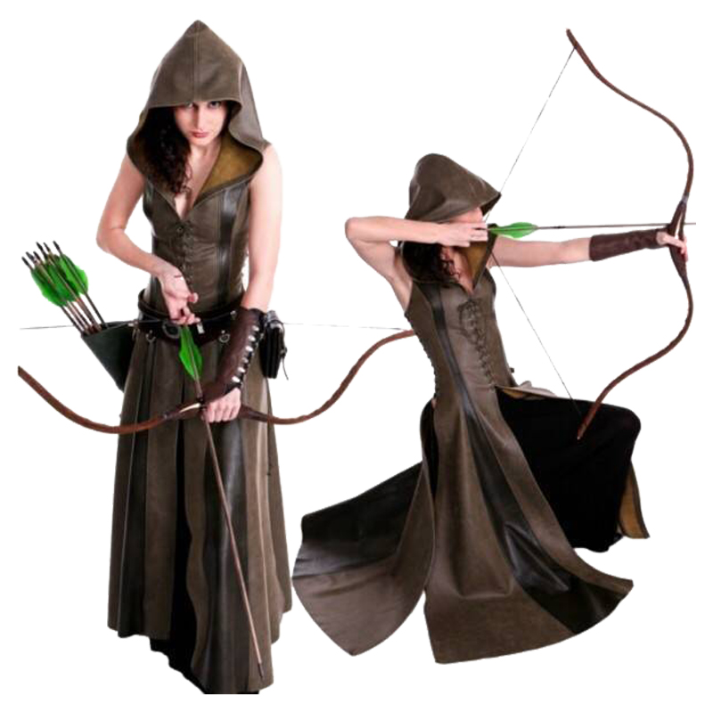 Women's Vintage Clothing Costume Archer Cosplay Game of Thrones Hooded Sleeveless Long Dress