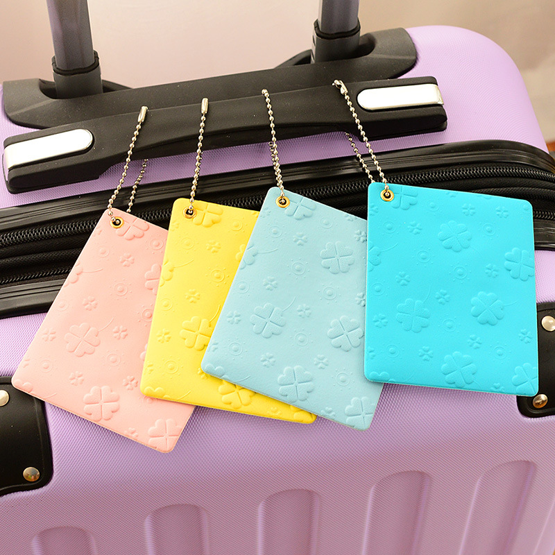 OKOKC Clover Series Luggage Tags Macaron Passport Tags ID Address Holder Travel Luggage Label Straps Travel Accessories