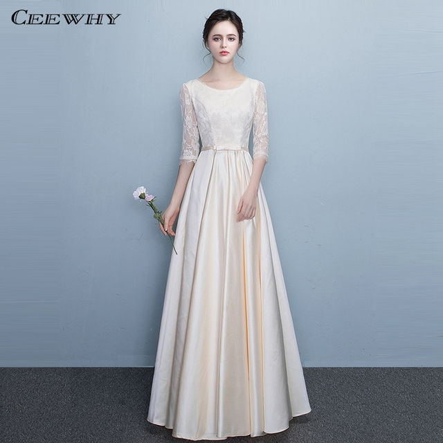 CEEWHY Half Sleeves Floor-Length Evening Gown Elegant Formal Evening Dress  Long Plus Size Lace Prom Dresses Vestido de Festa 7313f1125152