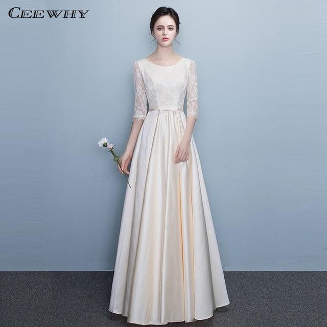 CEEWHY Half Sleeves Floor-Length Evening Gown Elegant Formal Evening Dress  Long Plus Size Lace Prom Dresses Vestido de Festa a203a4049d1e