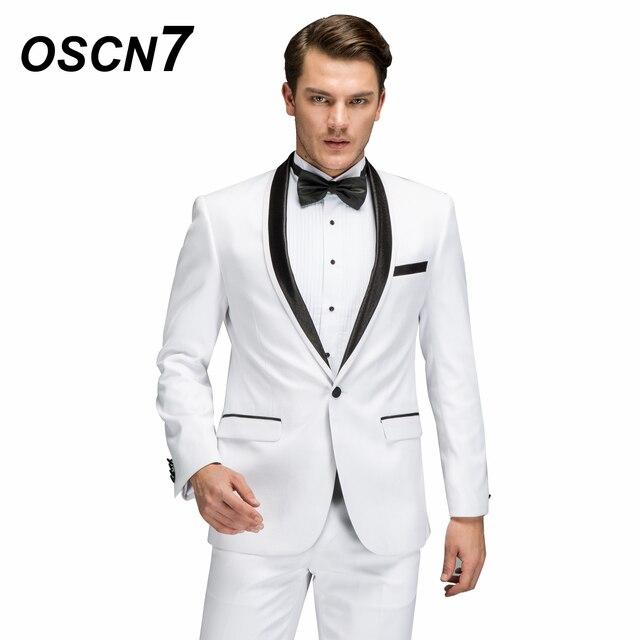 37f811cd68 OSCN7 lana blanco boda trajes por encargo 2 piezas Slim Fit ocio Terno  Masculino Mens Casual