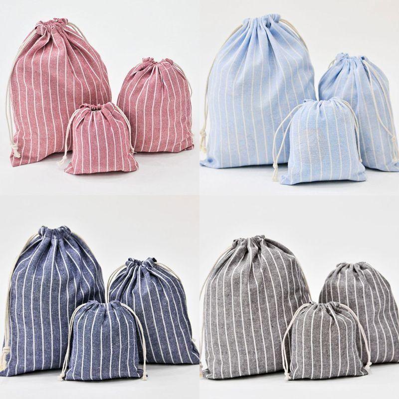 THINKTHENDO 1PC Christmas Candy Party Bag Cotton Linen Drawstring Tea Gift Portable Bags Makeup Bag For Travel Drawstring Bags