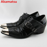 Akamatsu Brand Italian Mens Shoes High Heels Oxford Shoes For Men Steel Pointed Toe Dress Shoes