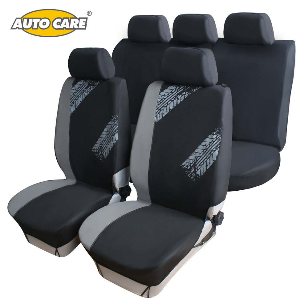 Car Seat Covers Universal Fit Grey Black Color Tire Print Style Seat Cover Protector Breathable Car