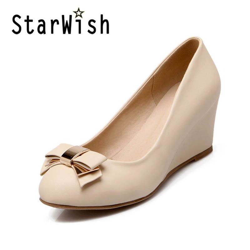 ФОТО STARWISH Fashion Bow Round Toe Slip-on Women Wedges Elegant Ladies Office Work Shoes Sweet Female High Heels Shoes Size 34-43