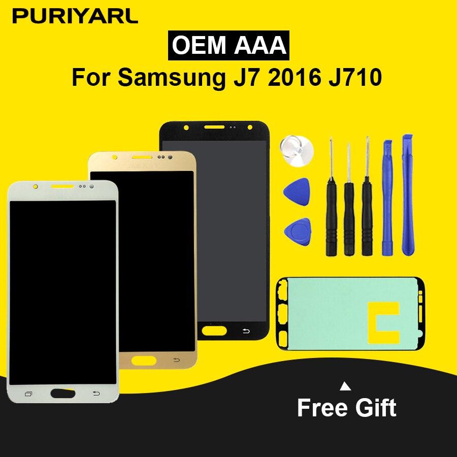 AAA + + AMOLED Écran LCD Pour Samsung Galaxy J7 2016 J710 J710F J710FN J710M J710Y LCD Affichage Écran Tactile Digitizer remplacement