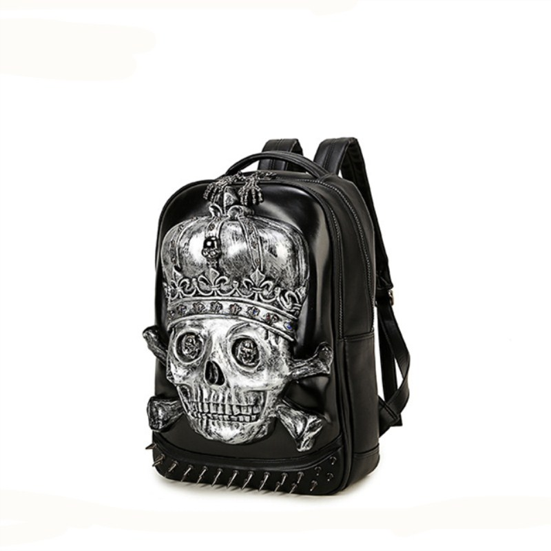 Фотография  3D Backpack  Fashion Men Personality Travel Backpack Gothic Crown Skull Rivet Motorcycle Ride Unique