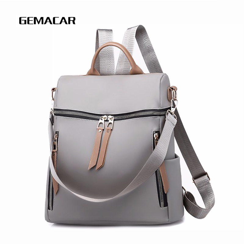 Casual Women Multi-function Bag Waterproof Simple Female Large-capacity Backpack PU Leather Black Gray